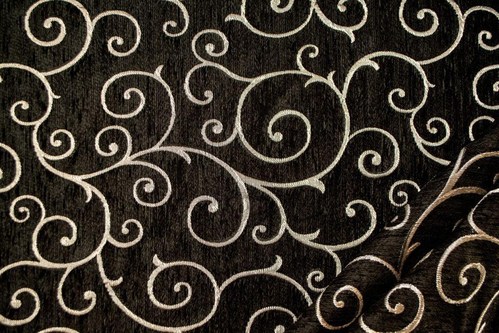 tessuto ciniglia ambra colore nero silver