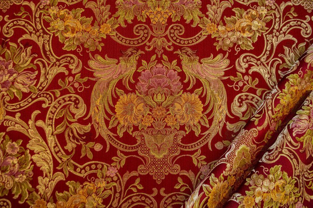 tessuto elegante rasato lurex con tableau mx galassia colore rosso